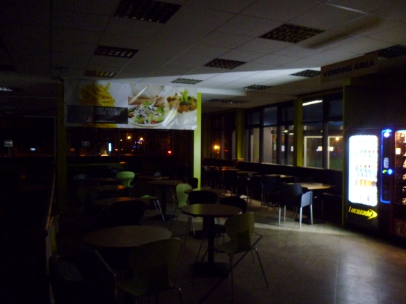 A canteen in darkness