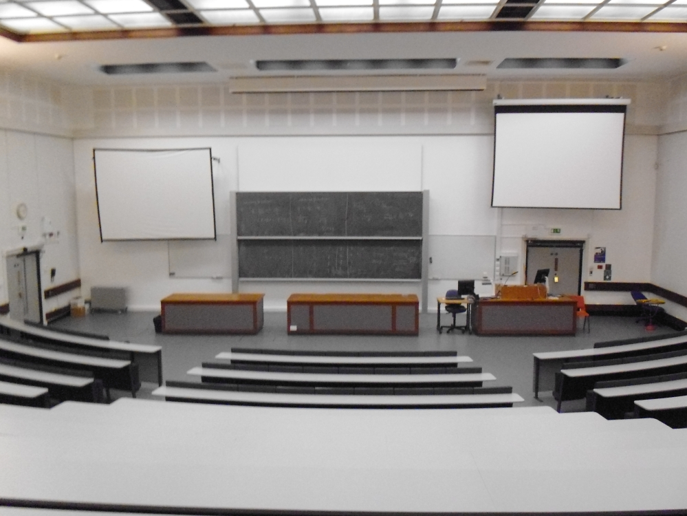 A white and grey lecture theatre